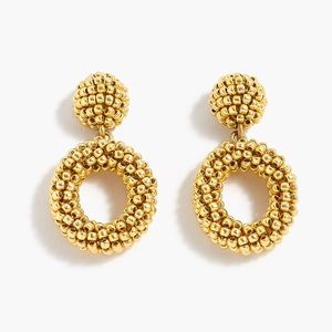 JCREW Mini Beaded Drop Hoop Earrings NWT Gold